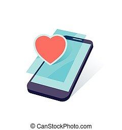 móvil, corazón, vector