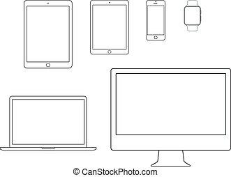 móvil, cuaderno, icono de la computadora, conjunto, tableta...