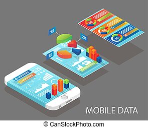 móvil, datos, vector, plano, isométrico, ilustración