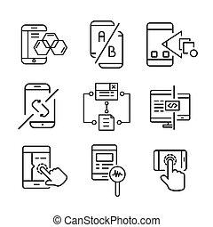 móvil, desarrollo, conjunto, apps, icono