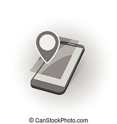 móvil, dispositivo, búsqueda, geo