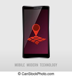 móvil, dispositivo, con, geo, marca