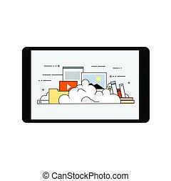 móvil, dispositivo, datos, nube, almacenamiento, seguridad, plano, diseño, vector, ilustración