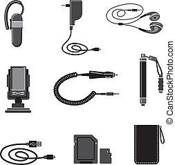 móvil, dispositivos, accesorios