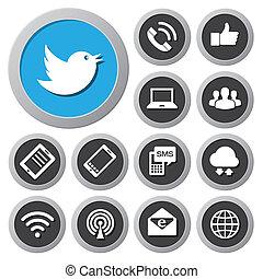 móvil, dispositivos, y, red, iconos, set.