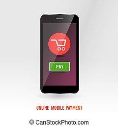 móvil, en línea, pago, servicio