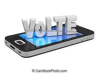 móvil, encima, aislado, señal, teléfono, lte, voz
