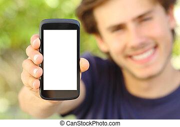 móvil, feliz, teléfono, hombre, actuación, al aire libre, ...