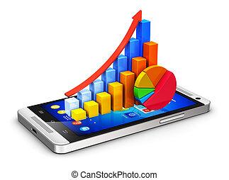 móvil, finanzas, y, analytics, concepto