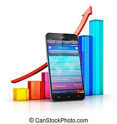 móvil, finanzas, y, empresa / negocio, analytics, concepto