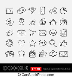 móvil, garabato, conjunto, apps, iconos