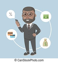móvil, hombre de negocios, banca