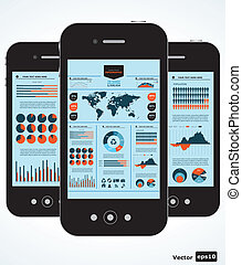móvil, infographic., conjunto, de, gráficos, un