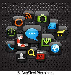 móvil, interfaz, iconos