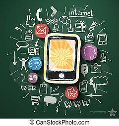 móvil, internet, collage, con, iconos, en, pizarra