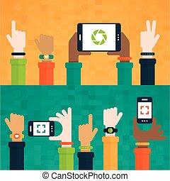 móvil, levantado, dispositivos, manos