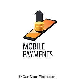 móvil, logotipo, pagos