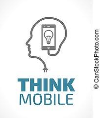 móvil, logotipo, -, pensar