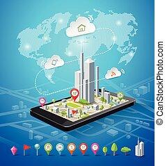 móvil, mapa, conexiones, navegación