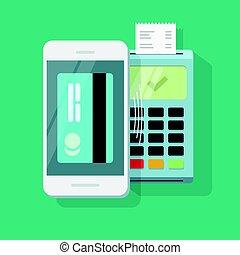móvil, pago, procesamiento, tecnología inalámbrica, vector,...