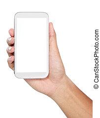 móvil, pantalla, mano, teléfono, tenencia, blanco, elegante