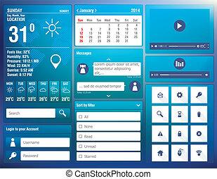 móvil, plano, app, elementos, diseño