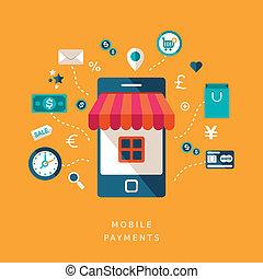 móvil, plano, diseño, pagos