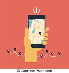 móvil, plano, navegación, ilustración, gps