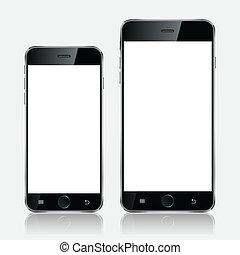 móvil, realista, ilustración, teléfono, blanco