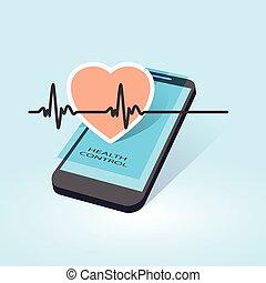 móvil, salud, control