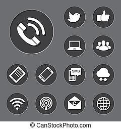 móvil, set., red, dispositivos, iconos