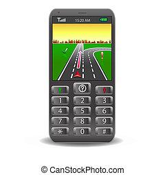móvil, sistema, calle, global, vector, posicionar, mapa, teléfonos