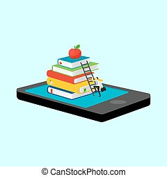 móvil, smartphone, biblioteca