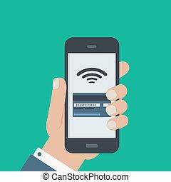 móvil, tarjeta de crédito, pago, tenencia de la mano, teléfono, plano, diseño