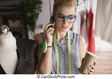 móvil, teléfono, sastre, Hablar, creativo
