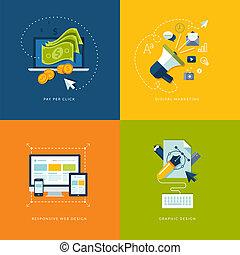 móvil, tela, apps, iconos