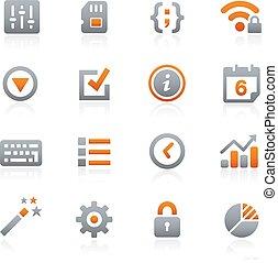 móvil, tela, grafito, 4, iconos
