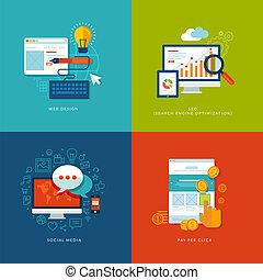 móvil, tela, servicios, iconos