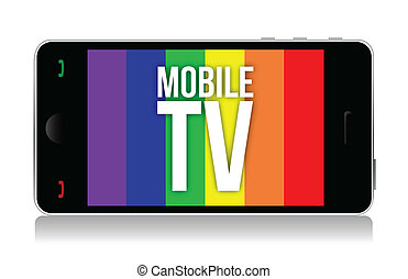 móvil, televisión, ilustración, diseño