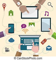 móvil, tenencia, dispositivos, manos