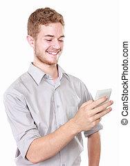 móvil, utilizar, hombre, teléfono del negocio
