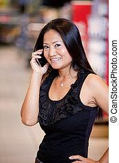 móvil, utilizar, mujer, teléfono