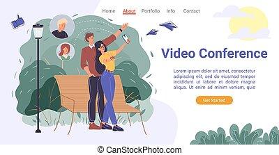 móvil, vídeo, página, conferencia, app, aterrizaje