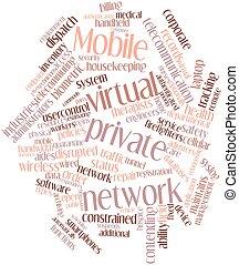 móvil, virtual, privado, red
