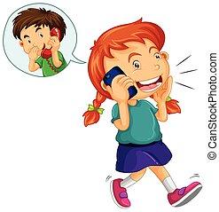 mówiąc, cellphone, dziewczyna, chłopiec