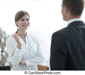 mówiąc, colleague.., kobieta handlowa