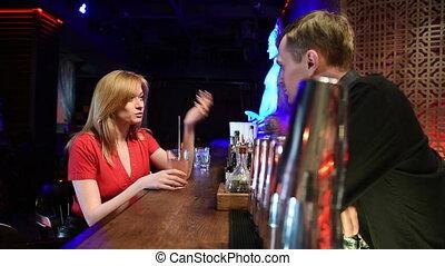 mówiąc, dziewczyna, bartender., life., noc