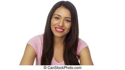 Mówiąc, kobieta, Meksykanin, Aparat fotograficzny