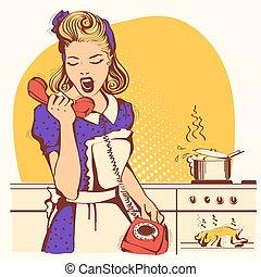 mówiąc, rozkrzyczany, retro, telefon, kuchnia, pokój, gospodyni