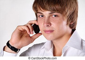 mówiąc, ruchomy, młody, przeciw, telefon, tło, portret, biały, przystojny, człowiek